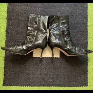 Manolo Blahnik Black Snakeskin Boots